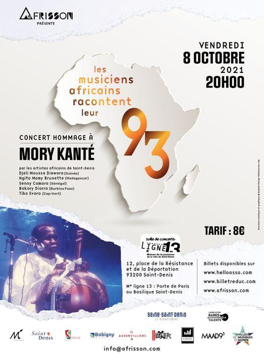 Affiche concert Mory Kanté 8 octobre 2021 à Saint-Denis (93)